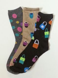 Button, Coffee and Purse Themed Crew Socks! Sold by Socks & Souls where we are warming souls through soles by giving a pair of socks to someone in need with every sock purchase!