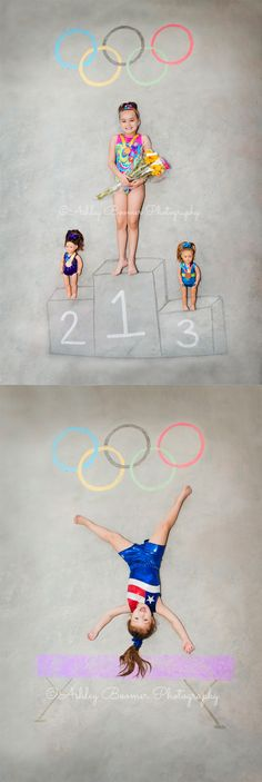 Ashley Boomer Photography | 2016 Rio Olympics | Future Olympians | Chalk Art | @snowflakeleos Snowflake Designs Leotards | Imagination Inspiration | Gymnast Gymnastics | Pretend Play Fun | Road to Rio | Summer Olympics
