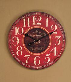 Red Wood Wall Clock