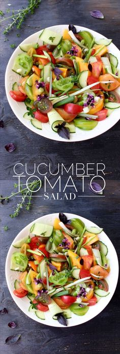 Cucumber Tomato Salad Recipe | CiaoFlorentina.com  #HealthyEating #CleanEating  #ShermanFinancialGroup