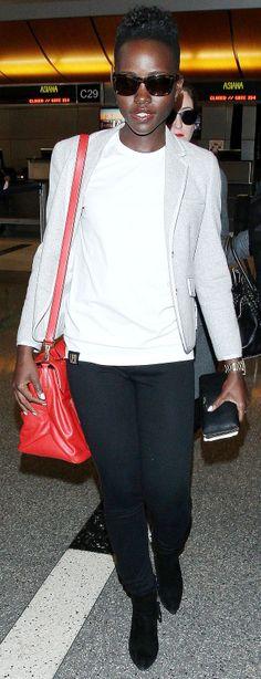 Lupita Nyong'o's airport style includes brand new Miu Miu!!