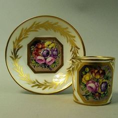 ANTIQUE PARIS DERBY PORCELAIN CABINET CUP  SAUCER C.1860