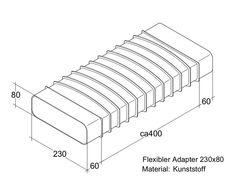 /Übergangsst/ück 150 x 180 x 95 mm flach auf rund 150