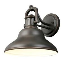 For the guest bath. Hampton Bay 1-Light Outdoor Oil Rubbed Bronze Wall Lantern-HRR1691A at The Home Depot