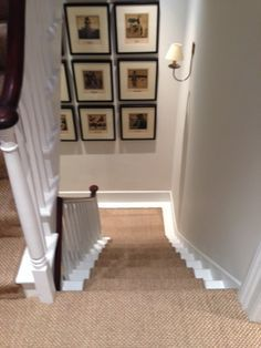 Client: Private Residence In West London. Brief: To supply & install sisal carpet to stairs, hallway & landings. Landing Decor, Stair Landing, House Stairs, Carpet Stairs, Basement Carpet, Stairs Painted White, Hallway Colours, Natural Carpet, Dark Carpet