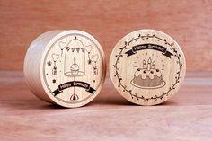 KOKOMU Happy Birthday Wooden Music Box DIY Kits .Materials: beech. Sankyo Japan music  movement Method: surface for laser engraving Dimensions: 6.5 x 6.5 x 3cm Design and manufacture: knock on wood designer-Ming