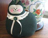 Cat Pillow Doll, Cloth Doll 7 inch Vintage Look Floral, Primitive Soft Sculpture Handmade CharlotteStyle Decorative Folk Art. $12.00, via Etsy.
