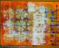 Terri Stegmiller Art Quilts: Backgrounds for Something with stencils from StencilGirl.