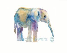 Children's Art Baby  Elephant Animal Paintin  A4 door Coconuttowers