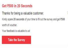 Complete Survey & Get Rs.500 Via Gift Voucher Offer - Best Online Offer