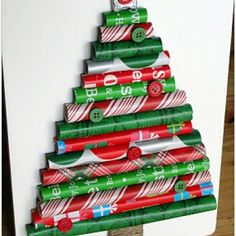 Wrapping Paper Christmas Tree.  Great way to use odd size pieces of wrapping paper.  Brilliant!