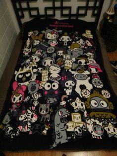 Hello Kitty Tokidoki Sanrio Characters Throw Blanket Black Pink Unicorno Kuromi