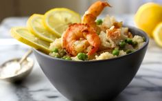 Shrimp & Lobster Risotto with Peas. Delicious elegant and surprisingly affordable. Shrimp and Lobster Risotto with Peas is great option for a dinner party. Lobster Risotto, Steamed Lobster, Shrimp And Lobster, Seafood Risotto, Shrimp Pasta, Lobster Recipes, Seafood Recipes, Cooking Recipes, Rice Recipes