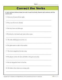 Correct the Verbs   Printable 4th - 6th Grade Grammar Activity