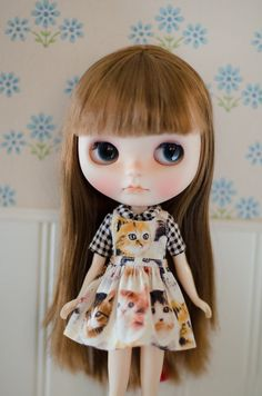 Pinafore and blouse set for Blythe doll by PlasticFashion on Etsy, $30.00