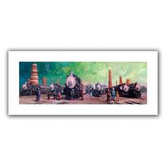 "ArtWall Trainyard' by Eric Joyner Painting Print on Rolled Canvas Size: 20"" H x 52"" W"