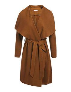 0ee6dfc3c5c Zeagoo Women s Lapel Long Trench Coat Wool Blended Jacket Outwear Cardigan  Trench Jacket