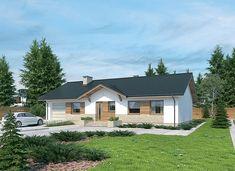 Projekt domu Murator M184a Przystępny - wariant I 106,5 m2 - koszt budowy 169 tys. zł - EXTRADOM House Layout Plans, House Layouts, Entry Way Design, Home Fashion, Garage Doors, Entryway, House Design, House Styles, Outdoor Decor