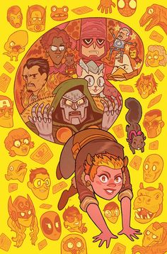 Dan Hipp's cover of Squirrel girl and it's color complements the composition and the faces are lowered with opacity which works.