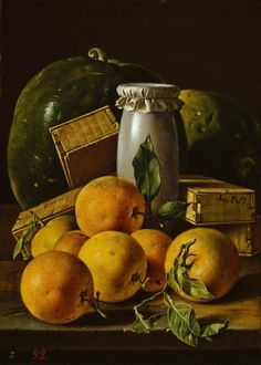 """""""Still life with oranges, watermelons, melero and sweet boxes """" Luis Meléndez Oil on canvas, 48.3 x 34.5 cm Madrid, Prado Museum"""