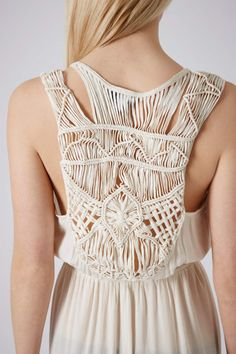 Wide Macrame Belts | Topshop Cream Macrame Back Maxi Dress in Beige (CREAM)