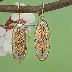 handcrafted earrings by India's Kirti. Coppertone and brass leaf on silver, pewter oval. $26.18