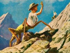 "bizarreauhavre: ""Alternative human evolution. Illustration by french artist Lucien Rudaux, 1930s """