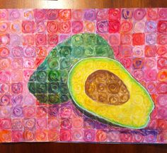 "Chuck Close inspired art lesson- ""portraits of food"""