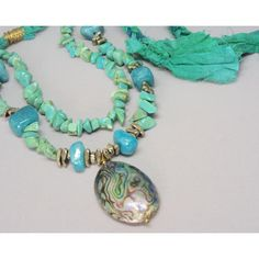 Multi strand turquoise necklace, Abalone Necklace, Statement Necklace. (£32) ❤ liked on Polyvore featuring jewelry, necklaces, abalone necklace, abalone pendant necklace, multi-chain necklace, peacock necklace and blue turquoise necklace