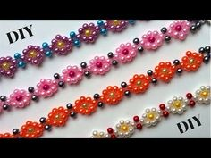 This diy beaded bracelets are the very easy jewelry making for everyone. The beading pattern can be done in less than 15 minutes . It's fun and you can combi. Seed Bead Tutorials, Free Beading Tutorials, Beading Patterns, Kumihimo Bracelet, Beaded Bracelets Tutorial, Necklace Tutorial, Necklace Ideas, Pearl Bracelet, Handmade Bracelets