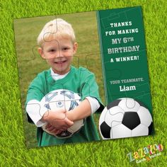 Soccer themed birthday party puzzle, party favor, thank you or sport team gift.  #soccer #puzzle #team #favor  www.zazazoocards.com
