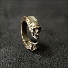 Adjustable Gemini Silver Ring- Prometheus spaceship Silver Ring- Double Skull Ring - Adjustable skull Silver Ring-The best gift for yourself