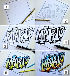 Name in Graffiti style - Drawing in Art Class - . Name in Graffiti Graffiti Kunst, Graffiti Drawing, Street Art Graffiti, How To Draw Graffiti, Graffiti Artwork, Graffiti Artists, Easy Graffiti, Graffiti Painting, Dot Painting