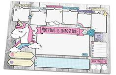 Schreibtischunterlage UNICORN, DIN A3 mit süßem Einhorn-Motiv aus Papier, 25 Blatt Schreibunterlage zum Abreißen (30 x 42 cm) für Kinder und Erwachsene mit Wochenplaner, Tagesplan, To-Do-Liste, Notizfeldern, Freifeldern