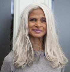 Women with cool grey hair exemplified by this member of the New York City Municipal Labor Union, DC 37. Photo by Pat Arnow