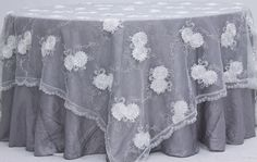 "Vintage Veil Embroidery 90"" Square Table Overlay Topper - White/Silver"