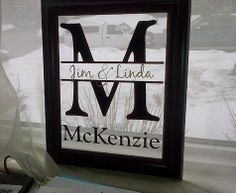 Custom Family Name frame - perfect gift for any reason.  Visit my website for details.