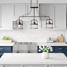 There is no question that designing a new kitchen layout for a large kitchen is much easier than for a small kitchen. A large kitchen provides a designer with adequate space to incorporate many convenient kitchen accessories such as wall ovens, raised. Kitchen Island Pendants, Kitchen Trends, Small Kitchen, Kitchen Remodel, Kitchen Decor, Modern Kitchen, New Kitchen, Kitchen Renovation, Kitchen Design