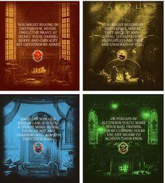 Gryffindor, Hufflepuff, Ravenclaw, and Slytherin