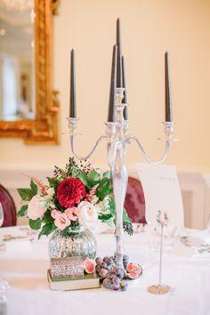 Elegant Candelabra Table Centrepiece - Katy Melling Photography   Vintage wedding at Eshott Hall, Northumberland   Rosa Clara Wedding Dress   Red Flowers
