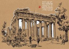 The Parthenon temple at the Acropolis in Athens besieged by a bearable number of tourists on a monday morning. Architecture Illustrations, Architecture Sketchbook, Architecture Portfolio, Parthenon, Acropolis, One Point Perspective, Paper Drawing, Brown Paper, Monday Morning