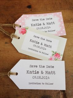 Save the Date Tags/ vintage/shabby chic style wedding/personalised 2006