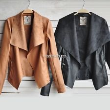 Sexy Women Soft Leather Motorcycle Crop Lapel Zipper Coat Jacket S M L XL XXL
