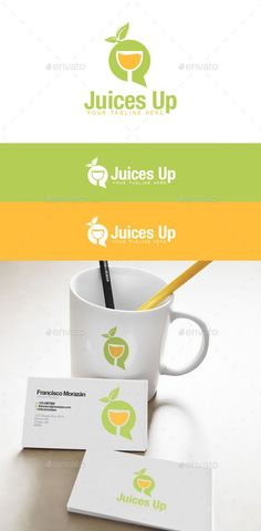 Juices Up Logo by penxelstudio A combination of cocktail glass with bubble talk and leaf logo. Very suitable to use for company or business related with bar, win Food Logo Design, Logo Food, Logo Design Template, Logo Templates, Branding Design, Juice Logo, Juice Company, Water Into Wine, Leaf Logo