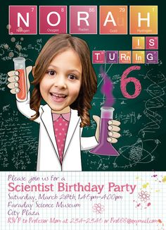 Science Birthday Party Invitation for a girl or boy - Personalized with your…
