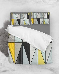 Colorful Concrete Triangles - Yellow, Blue, Gray // Duvet Cover and Pillow Shams by Zoltan Ratko // This pattern design is also available as a wall art, apparel, tech and home product. Cozy Bedroom, Master Bedroom, Pillow Shams, Bed Pillows, Grey Duvet, Concrete Texture, Nordic Design, Triangles, Gray