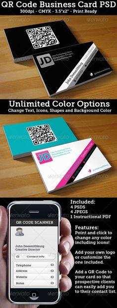 Modern QR Code Business Card Qr codes, Qr code business card and - business contact list template