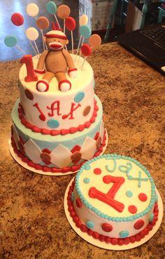 Sock monkey birthday cake and smash cake