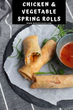 Packed with chicken, capsicum, carrots and cabbage these chicken and vegetable spring rolls are crispy, crunchy and absolutely delicious! Serve hot with ketchup or sweet chili sauce.
