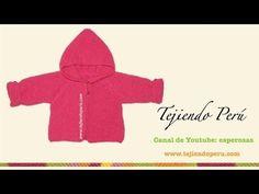 Saco con capucha para bebe de 6 a 9 meses tejido en dos agujas o palitos - Tejiendo Perú - YouTube